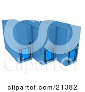 Clipart Illustration Of A Row Of Three Blue Computer Server Towers by 3poD