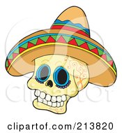 Mexican Skull Wearing A Sombrero