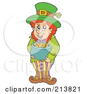 Royalty Free RF Clipart Illustration Of A Leprechaun Standing With His Pot Of Gold by visekart