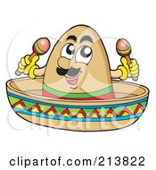 Mexican Sombrero Character Playing Maracas