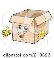 Royalty Free RF Clipart Illustration Of A Happy Cardboard Box Presenting