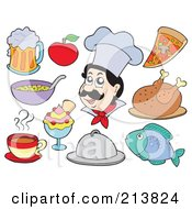 Royalty Free RF Clipart Illustration Of A Digital Collage Of A Male Chef And Food by visekart