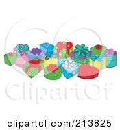 Royalty Free RF Clipart Illustration Of A Group Of Birthday Presents 1