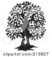 Royalty Free RF Clipart Illustration Of A Black And White Oak Tree Design