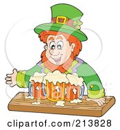 Royalty Free RF Clipart Illustration Of A Leprechaun With Many Mugs Of Beer by visekart