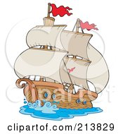 Royalty Free RF Clipart Illustration Of An Old Sailing Ship by visekart #COLLC213829-0161