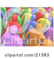 Clipart Illustration Of A Group Of Colorful Diverse People Standing In A Crowd And Looking Slightly Upwards
