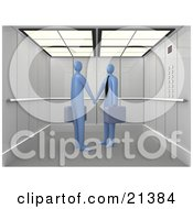 Poster, Art Print Of Two Blue Businessmen Carrying Briefcases Shaking Hands While Meeting In An Elevator