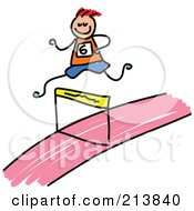 Royalty Free RF Clipart Illustration Of A Childs Sketch Of A Boy Leaping A Hurdle by Prawny