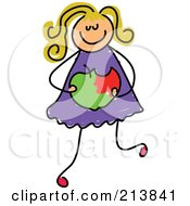 Royalty Free RF Clipart Illustration Of A Childs Sketch Of A Girl Holding A Bitten Apple by Prawny