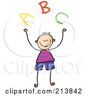 Royalty Free RF Clipart Illustration Of A Childs Sketch Of A Boy With ABC by Prawny