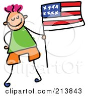 Royalty Free RF Clipart Illustration Of A Childs Sketch Of Little Boy With An American Flag by Prawny