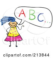 Royalty Free RF Clipart Illustration Of A Childs Sketch Of A Girl With ABC