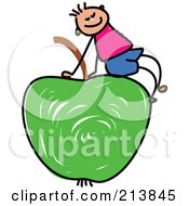 Royalty Free RF Clipart Illustration Of A Childs Sketch Of A Boy Sitting On A Green Apple by Prawny