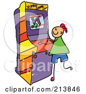 Royalty Free RF Clipart Illustration Of A Childs Sketch Of A Boy Playing A Video Game by Prawny