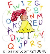 Royalty Free RF Clipart Illustration Of A Childs Sketch Of A Girl With Letters by Prawny