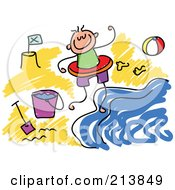 Royalty Free RF Clipart Illustration Of A Childs Sketch Of Childs Sketch Of A Boy On A Beach by Prawny