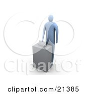 Clipart Illustration Of A Blue Person Standing At A Ballot Box And Putting Their Envelope Through The Slot by 3poD