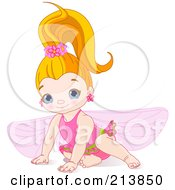 Royalty Free RF Clipart Illustration Of A Cute Fairy Girl In Pink
