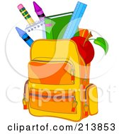 Royalty Free RF Clipart Illustration Of A School Bag Full Of Items