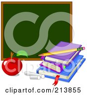 Royalty Free RF Clipart Illustration Of An Apple With Chalk By Books And A Chalk Board