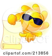 Royalty Free RF Clipart Illustration Of A Sun Face Wearing Shades And Pointing To A Blank Scroll by Pushkin