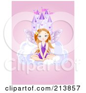 Royalty Free RF Clipart Illustration Of A Fairy Girl Sitting On A Cloud In Front Of A Castle