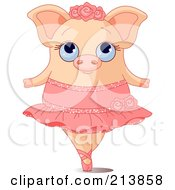 Royalty Free RF Clipart Illustration Of A Cute Ballerina Pig On Her Tippy Toes by Pushkin
