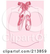 Royalty Free RF Clipart Illustration Of Pink Ballet Slippers On A Plaque Over Pink Stripes