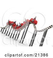 Bumpy Red Roller Coaster Transporting Businessmen With Briefcases