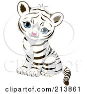 Royalty Free RF Clipart Illustration Of A Cute Baby Tiger Sitting And Looking Outwards by Pushkin