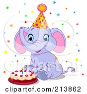 Cute Party Elephant With A Birthday Cake