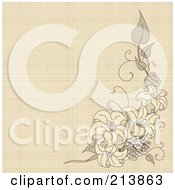 Canvas Textured Background With Lilies
