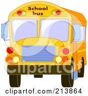 Royalty Free RF Clipart Illustration Of A Front View Of A School Bus by Pushkin