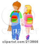 Royalty Free RF Clipart Illustration Of A School Boy And Girl Holding Hands And Walking by Pushkin