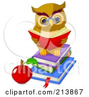 Royalty Free RF Clipart Illustration Of A Cute Owl Reading On A Stack Of Books By An Apple by Pushkin