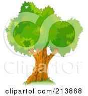 Royalty Free RF Clipart Illustration Of A Mature Tree With Green Foliage