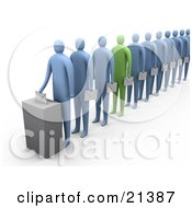 Clipart Illustration Of One Green Person Standing Out In A Line Of Blue People All Holding Envelopes And Putting Their Votes In A Ballot Box