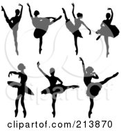 Digital Collage Of Silhouetted Dancing Ballerinas