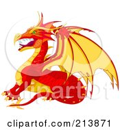 Royalty Free RF Clipart Illustration Of A Fierce Red And Yellow Dragon In Profile by Pushkin