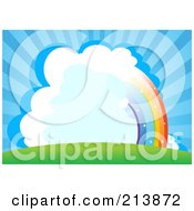 Royalty Free RF Clipart Illustration Of A Half Rainbow Through Clouds In A Bursting Blue Sky