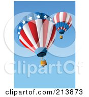 Royalty Free RF Clipart Illustration Of American Hot Air Balloons In A Blue Sky