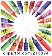 Royalty Free RF Clipart Illustration Of A Colorful Circle Of Crayons