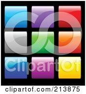 Royalty Free RF Clipart Illustration Of A Digital Collage Of Shiny Colorful Squares On Black