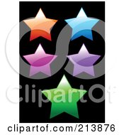 Digital Collage Of Five Shiny Colorful Stars On Black