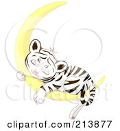 Royalty Free RF Clipart Illustration Of A Cute Baby Tiger Sleeping On A Crescent Moon by Pushkin