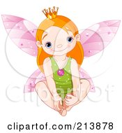 Royalty Free RF Clipart Illustration Of A Cute Baby Fairy Touching Her Feet