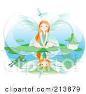 Royalty Free RF Clipart Illustration Of A Fairy Watching A Dragonfly While Sitting On A Lily Pad