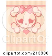 Royalty Free RF Clipart Illustration Of A Pink Girly Skull With A Heart Over Stripes by Pushkin