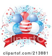 Royalty Free RF Clipart Illustration Of A American Party Balloons Over A Red Banner With Confetti